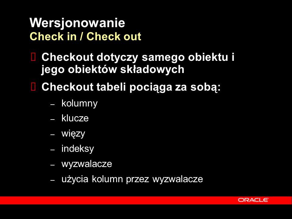 Wersjonowanie Check in / Check out  Checkout dotyczy samego obiektu i jego obiektów składowych  Checkout tabeli pociąga za sobą: – kolumny – klucze