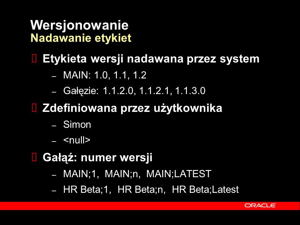Wersjonowanie Nadawanie etykiet  Etykieta wersji nadawana przez system – MAIN: 1.0, 1.1, 1.2 – Gałęzie: 1.1.2.0, 1.1.2.1, 1.1.3.0  Zdefiniowana prze