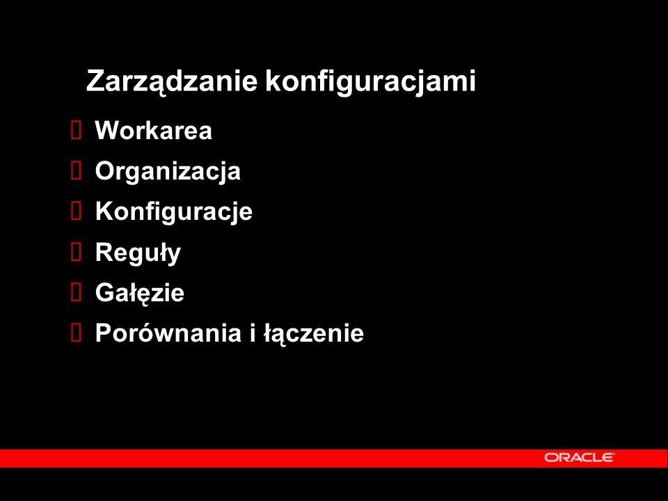 Zarządzanie konfiguracjami  Workarea  Organizacja  Konfiguracje  Reguły  Gałęzie  Porównania i łączenie