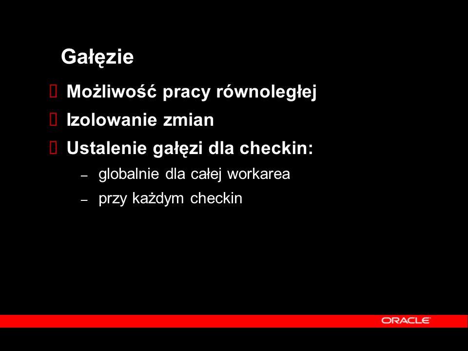Gałęzie  Możliwość pracy równoległej  Izolowanie zmian  Ustalenie gałęzi dla checkin: – globalnie dla całej workarea – przy każdym checkin
