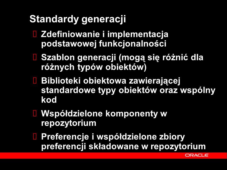 Standardy generacji  Zdefiniowanie i implementacja podstawowej funkcjonalności  Szablon generacji (mogą się różnić dla różnych typów obiektów)  Bib