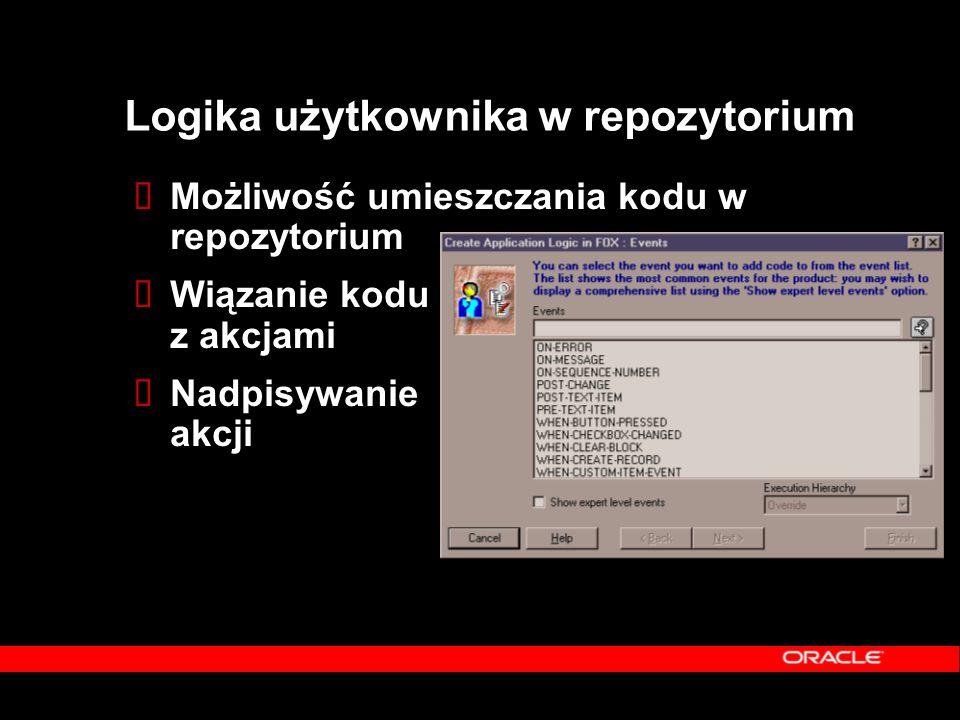 Logika użytkownika w repozytorium  Możliwość umieszczania kodu w repozytorium  Wiązanie kodu z akcjami  Nadpisywanie akcji