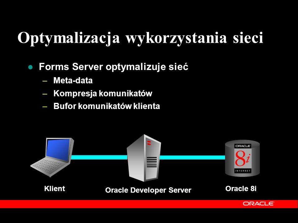 Forms Server optymalizuje sieć –Meta-data –Kompresja komunikatów –Bufor komunikatów klienta Klient Oracle 8i Oracle Developer Server Optymalizacja wyk