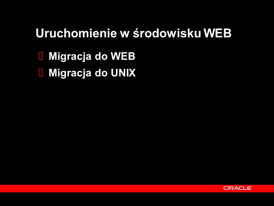 Uruchomienie w środowisku WEB  Migracja do WEB  Migracja do UNIX