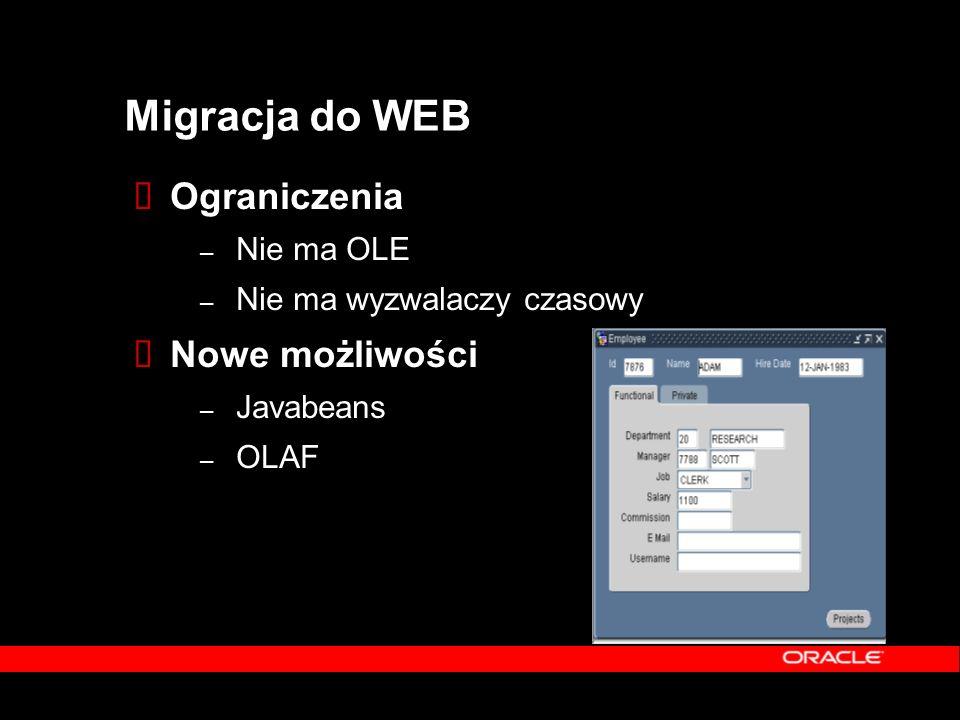 Migracja do WEB  Ograniczenia – Nie ma OLE – Nie ma wyzwalaczy czasowy  Nowe możliwości – Javabeans – OLAF