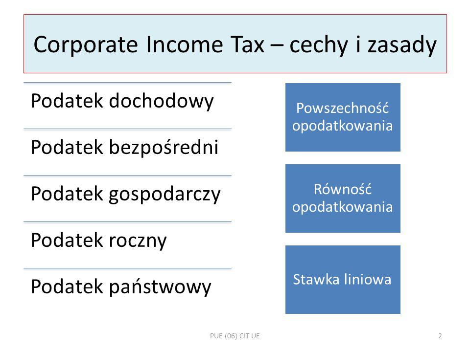 Harmonizacja CIT Różnice w zasadach opodatkowania dochodu, szczególnie przedsiębiorców, stają się coraz poważniejszą barierą dla pełniejszego wykorzystania gospodarczych swobód rynku wewnętrznego Brak wspólnych przepisów w dziedzinie podatków dochodowych utrudnia, zwłaszcza małym i średnim przedsiębiorcom, tworzenie transgranicznych struktur gospodarczych, a także międzynarodową kooperację przedsiębiorców z różnych państw UE 1 Opodatkowanie dywidend 2 Opodatkowanie odsetek i należności licencyjnych 3 Opodatkowanie w sytuacji restrukturyzacji spółek (fuzja, podział, przeniesienie siedziby) PUE (06) CIT UE13