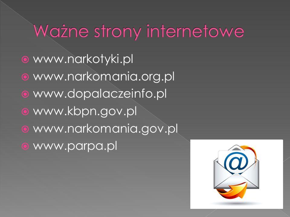  www.narkotyki.pl  www.narkomania.org.pl  www.dopalaczeinfo.pl  www.kbpn.gov.pl  www.narkomania.gov.pl  www.parpa.pl