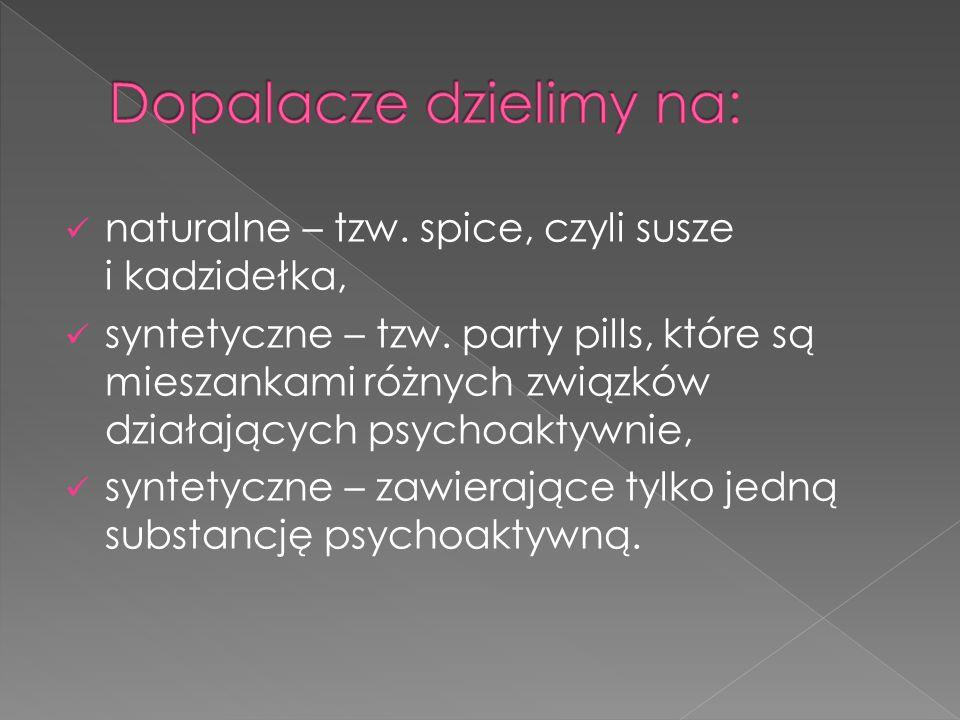  pobudzające (stymulujące),  halucynogenne,  relaksujące,  psychodeliczne.