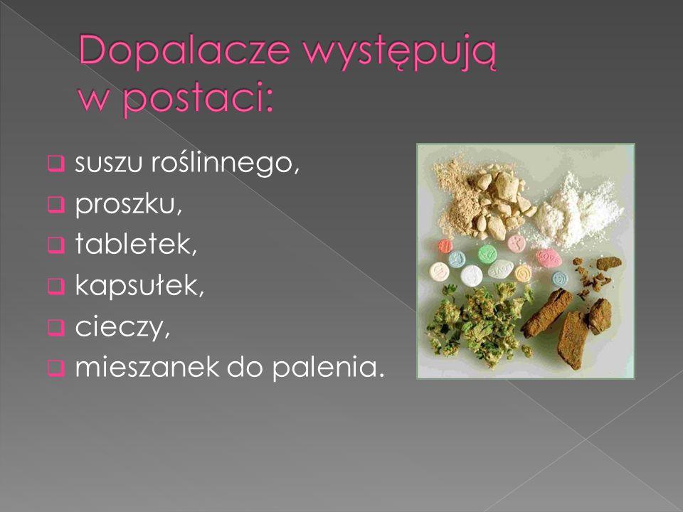  suszu roślinnego,  proszku,  tabletek,  kapsułek,  cieczy,  mieszanek do palenia.