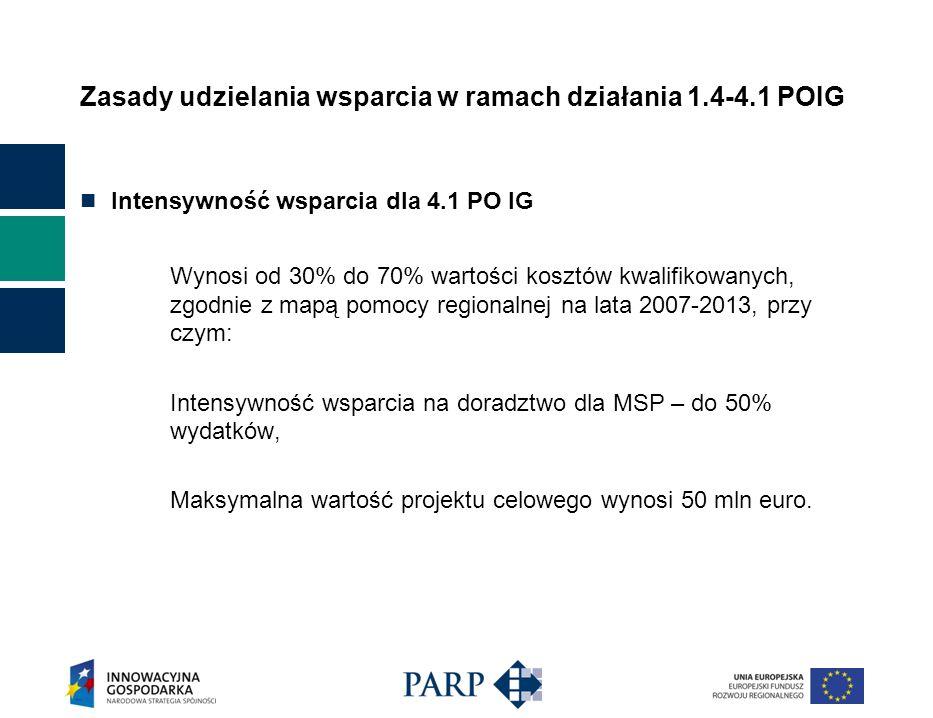 Zasady udzielania wsparcia w ramach działania 1.4-4.1 POIG Intensywność wsparcia dla 4.1 PO IG Wynosi od 30% do 70% wartości kosztów kwalifikowanych, zgodnie z mapą pomocy regionalnej na lata 2007-2013, przy czym: Intensywność wsparcia na doradztwo dla MSP – do 50% wydatków, Maksymalna wartość projektu celowego wynosi 50 mln euro.