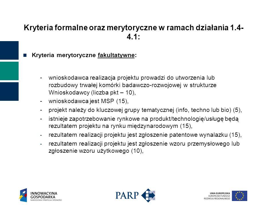 Kryteria formalne oraz merytoryczne w ramach działania 1.4- 4.1: Kryteria merytoryczne fakultatywne: -wnioskodawca realizacja projektu prowadzi do utworzenia lub rozbudowy trwałej komórki badawczo-rozwojowej w strukturze Wnioskodawcy (liczba pkt – 10), -wnioskodawca jest MSP (15), -projekt należy do kluczowej grupy tematycznej (info, techno lub bio) (5), -istnieje zapotrzebowanie rynkowe na produkt/technologię/usługę będą rezultatem projektu na rynku międzynarodowym (15), - rezultatem realizacji projektu jest zgłoszenie patentowe wynalazku (15), - rezultatem realizacji projektu jest zgłoszenie wzoru przemysłowego lub zgłoszenie wzoru użytkowego (10),