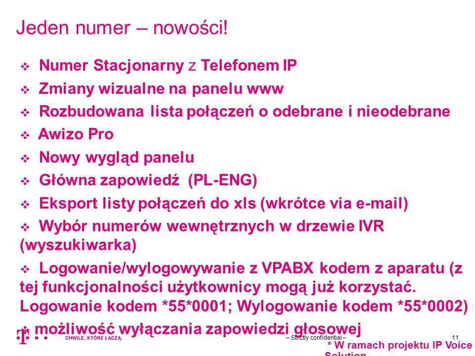 – Strictly confidential –11 Jeden numer – nowości!  Numer Stacjonarny z Telefonem IP  Zmiany wizualne na panelu www  Rozbudowana lista połączeń o o
