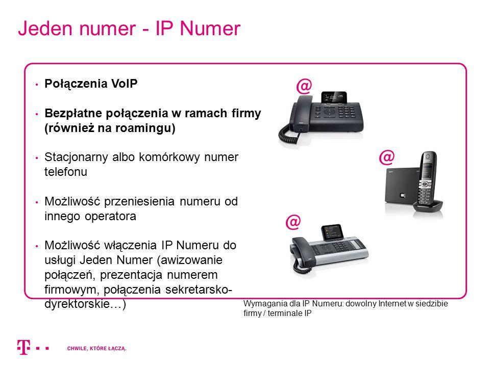 Jeden numer - IP Numer Wymagania dla IP Numeru: dowolny Internet w siedzibie firmy / terminale IP Połączenia VoIP Bezpłatne połączenia w ramach firmy