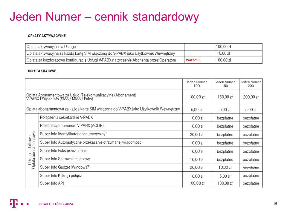 Jeden Numer – cennik standardowy 15 Ważne!!!