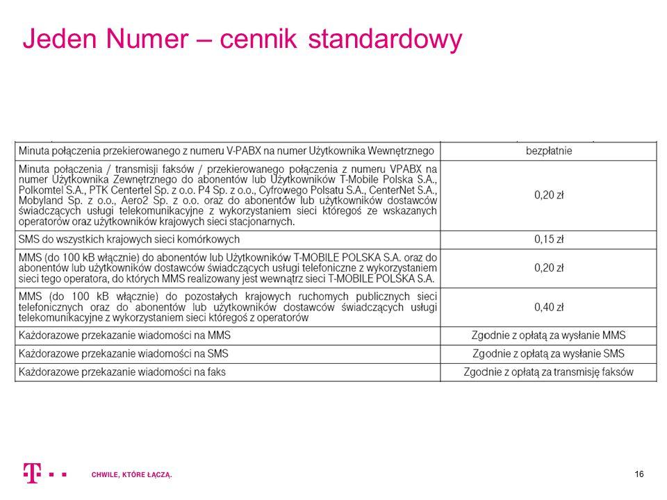 Jeden Numer – cennik standardowy 16