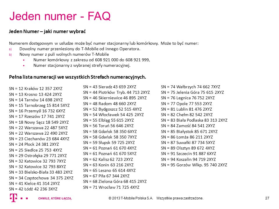 Jeden numer - FAQ 27© 2013 T-Mobile Polska S.A. Wszystkie prawa zastrzeżone. Jeden Numer – jaki numer wybrać Numerem dostępowym w usłudze może być num