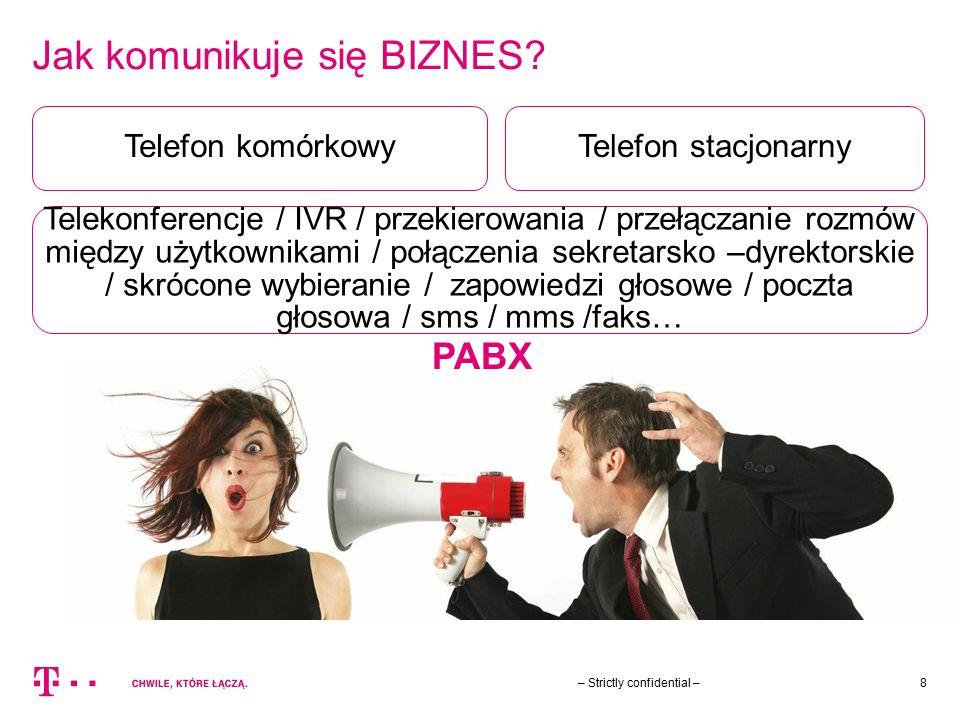 Jak komunikuje się BIZNES? – Strictly confidential –8 Telefon komórkowy Telekonferencje / IVR / przekierowania / przełączanie rozmów między użytkownik