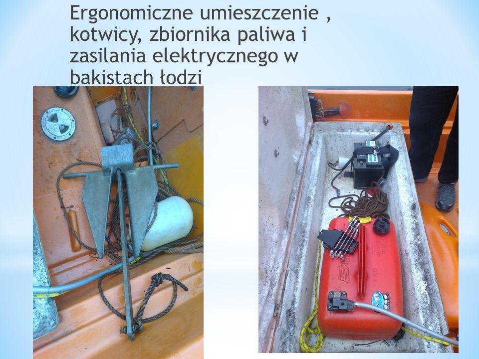 Ergonomiczne umieszczenie, kotwicy, zbiornika paliwa i zasilania elektrycznego w bakistach łodzi