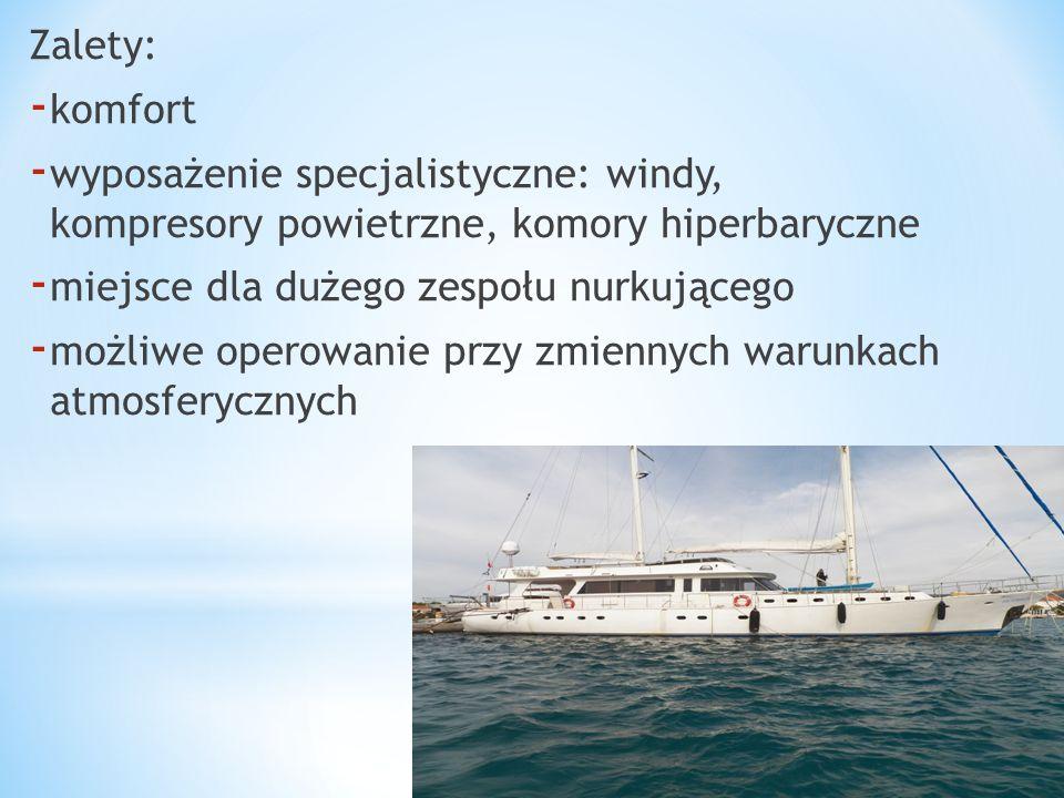 Zalety: - komfort - wyposażenie specjalistyczne: windy, kompresory powietrzne, komory hiperbaryczne - miejsce dla dużego zespołu nurkującego - możliwe operowanie przy zmiennych warunkach atmosferycznych