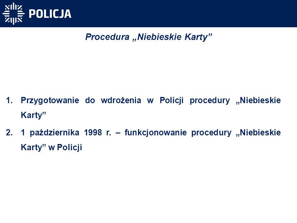 """1.Przygotowanie do wdrożenia w Policji procedury """"Niebieskie Karty"""" 2.1 października 1998 r. – funkcjonowanie procedury """"Niebieskie Karty"""" w Policji P"""