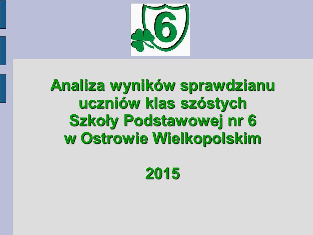Analiza wyników sprawdzianu uczniów klas szóstych Szkoły Podstawowej nr 6 w Ostrowie Wielkopolskim 2015