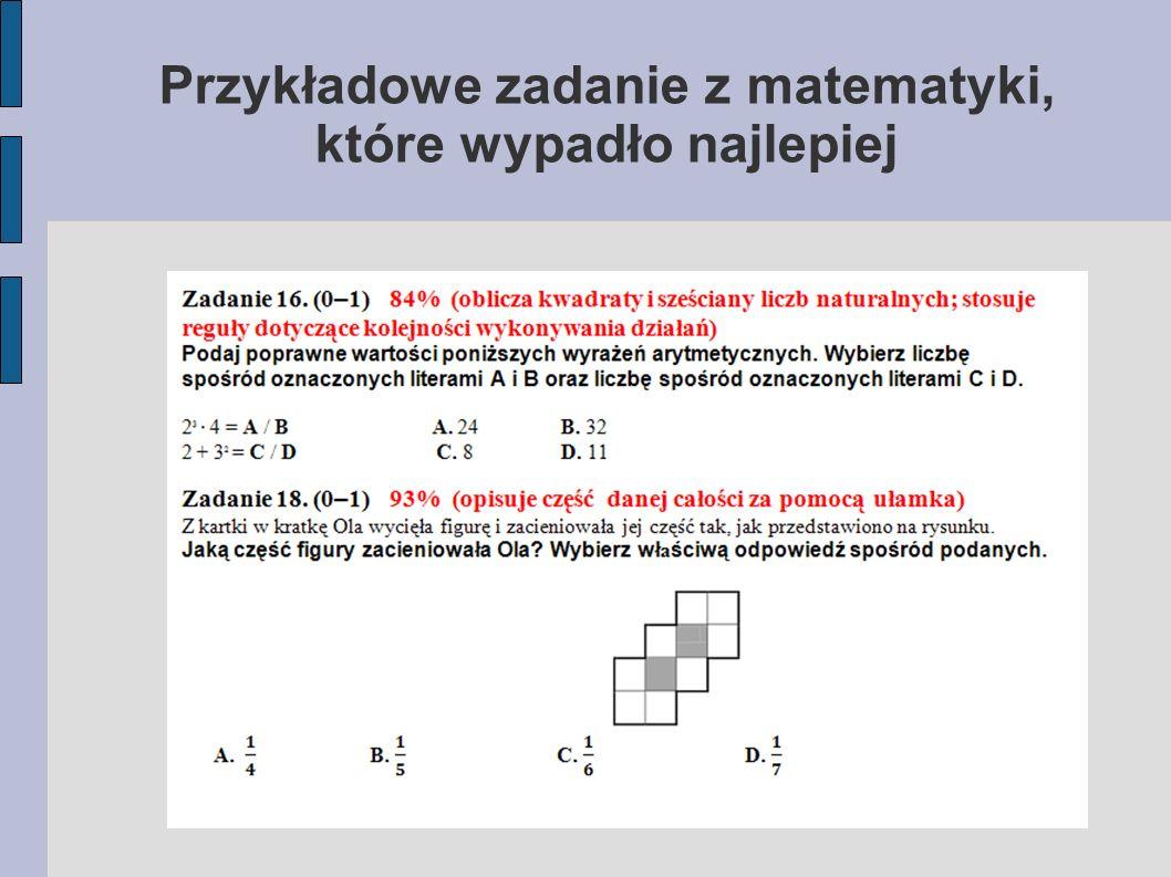 Przykładowe zadanie z matematyki, które wypadło najlepiej