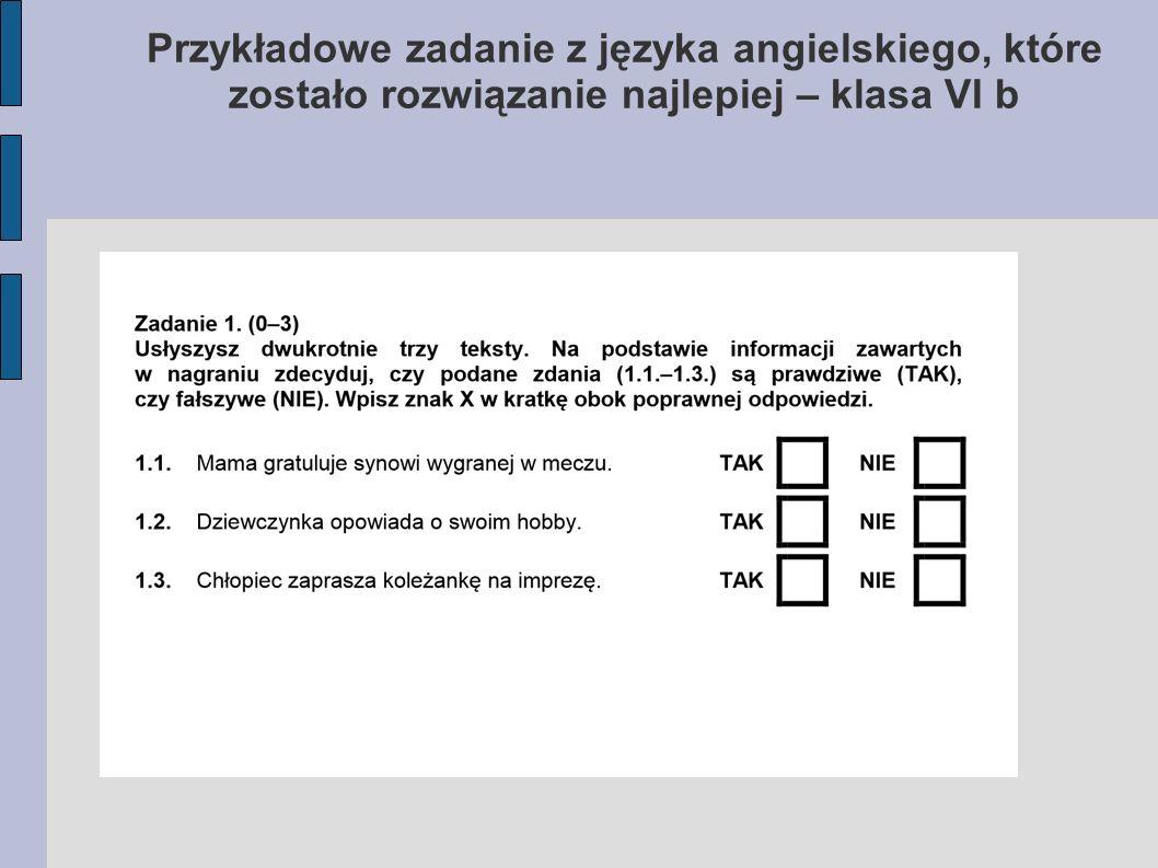 Przykładowe zadanie z języka angielskiego, które zostało rozwiązanie najlepiej – klasa VI b