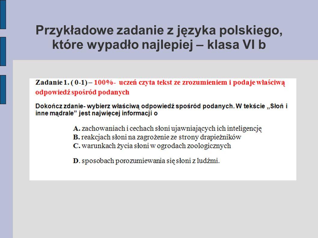 Przykładowe zadanie z języka polskiego, które wypadło najlepiej – klasa VI b