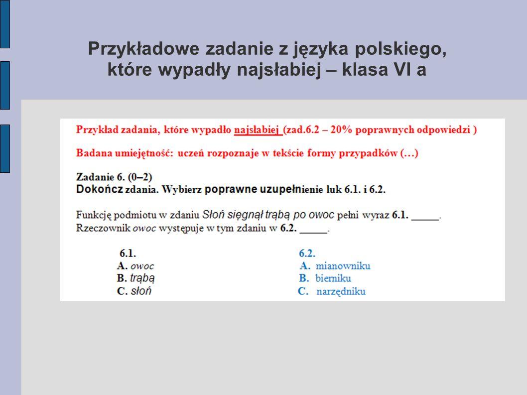 Przykładowe zadanie z języka polskiego, które wypadły najsłabiej – klasa VI a