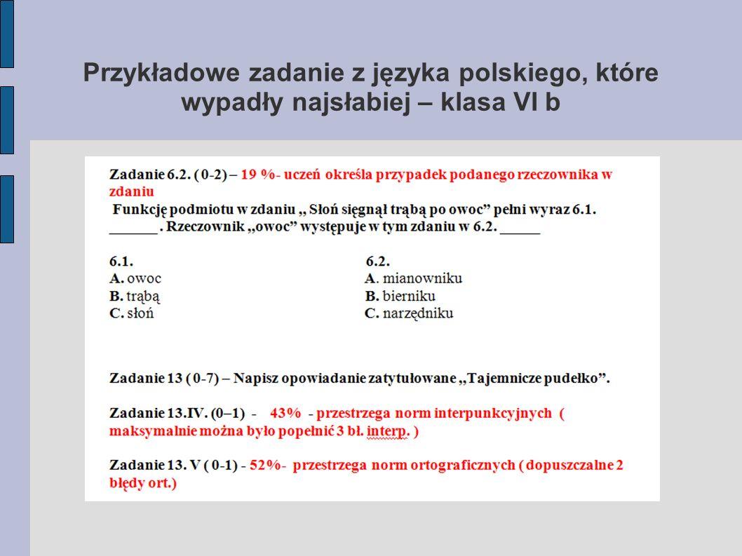Przykładowe zadanie z języka polskiego, które wypadły najsłabiej – klasa VI b