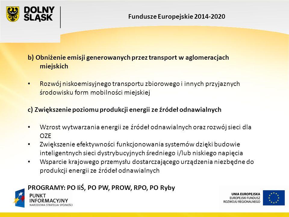 Fundusze Europejskie 2014-2020 b) Obniżenie emisji generowanych przez transport w aglomeracjach miejskich Rozwój niskoemisyjnego transportu zbiorowego i innych przyjaznych środowisku form mobilności miejskiej c) Zwiększenie poziomu produkcji energii ze źródeł odnawialnych Wzrost wytwarzania energii ze źródeł odnawialnych oraz rozwój sieci dla OZE Zwiększenie efektywności funkcjonowania systemów dzięki budowie inteligentnych sieci dystrybucyjnych średniego i/lub niskiego napięcia Wsparcie krajowego przemysłu dostarczającego urządzenia niezbędne do produkcji energii ze źródeł odnawialnych PROGRAMY: PO IiŚ, PO PW, PROW, RPO, PO Ryby