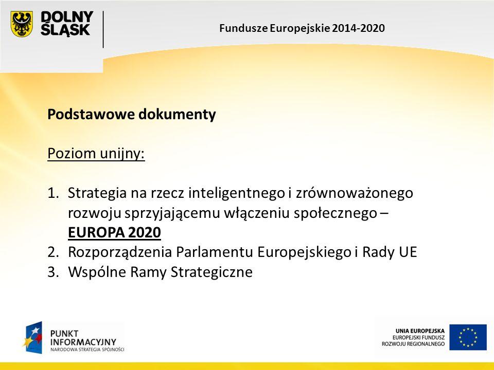 Podstawowe dokumenty Poziom unijny: 1.Strategia na rzecz inteligentnego i zrównoważonego rozwoju sprzyjającemu włączeniu społecznego – EUROPA 2020 2.Rozporządzenia Parlamentu Europejskiego i Rady UE 3.Wspólne Ramy Strategiczne