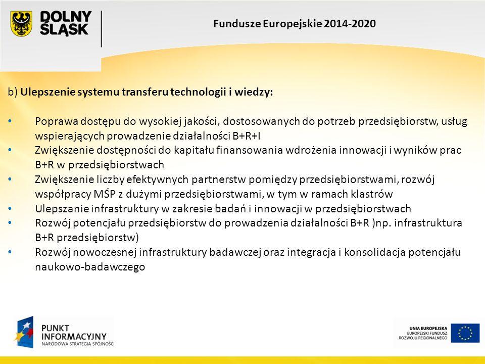 Fundusze Europejskie 2014-2020 b) Ulepszenie systemu transferu technologii i wiedzy: Poprawa dostępu do wysokiej jakości, dostosowanych do potrzeb przedsiębiorstw, usług wspierających prowadzenie działalności B+R+I Zwiększenie dostępności do kapitału finansowania wdrożenia innowacji i wyników prac B+R w przedsiębiorstwach Zwiększenie liczby efektywnych partnerstw pomiędzy przedsiębiorstwami, rozwój współpracy MŚP z dużymi przedsiębiorstwami, w tym w ramach klastrów Ulepszanie infrastruktury w zakresie badań i innowacji w przedsiębiorstwach Rozwój potencjału przedsiębiorstw do prowadzenia działalności B+R )np.