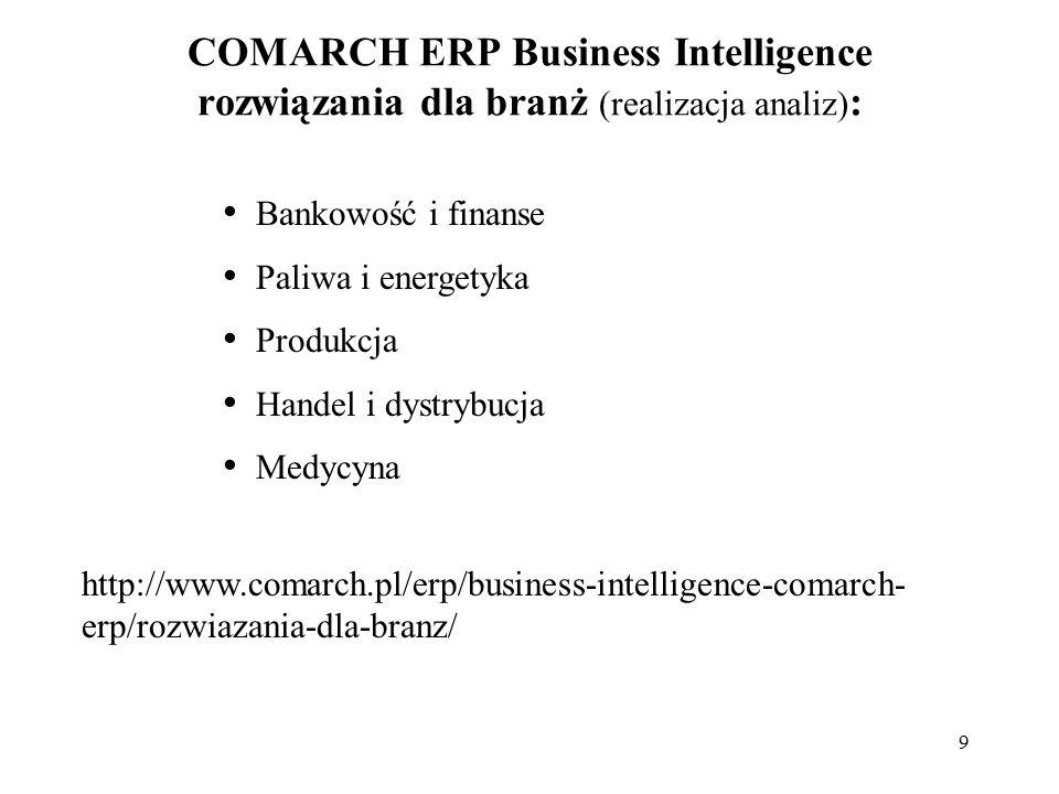 9 COMARCH ERP Business Intelligence rozwiązania dla branż (realizacja analiz) : Bankowość i finanse Paliwa i energetyka Produkcja Handel i dystrybucja Medycyna http://www.comarch.pl/erp/business-intelligence-comarch- erp/rozwiazania-dla-branz/