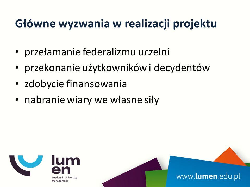 Główne wyzwania w realizacji projektu przełamanie federalizmu uczelni przekonanie użytkowników i decydentów zdobycie finansowania nabranie wiary we własne siły