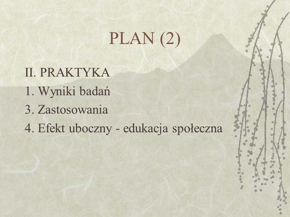 PLAN (2) II. PRAKTYKA 1. Wyniki badań 3. Zastosowania 4. Efekt uboczny - edukacja społeczna
