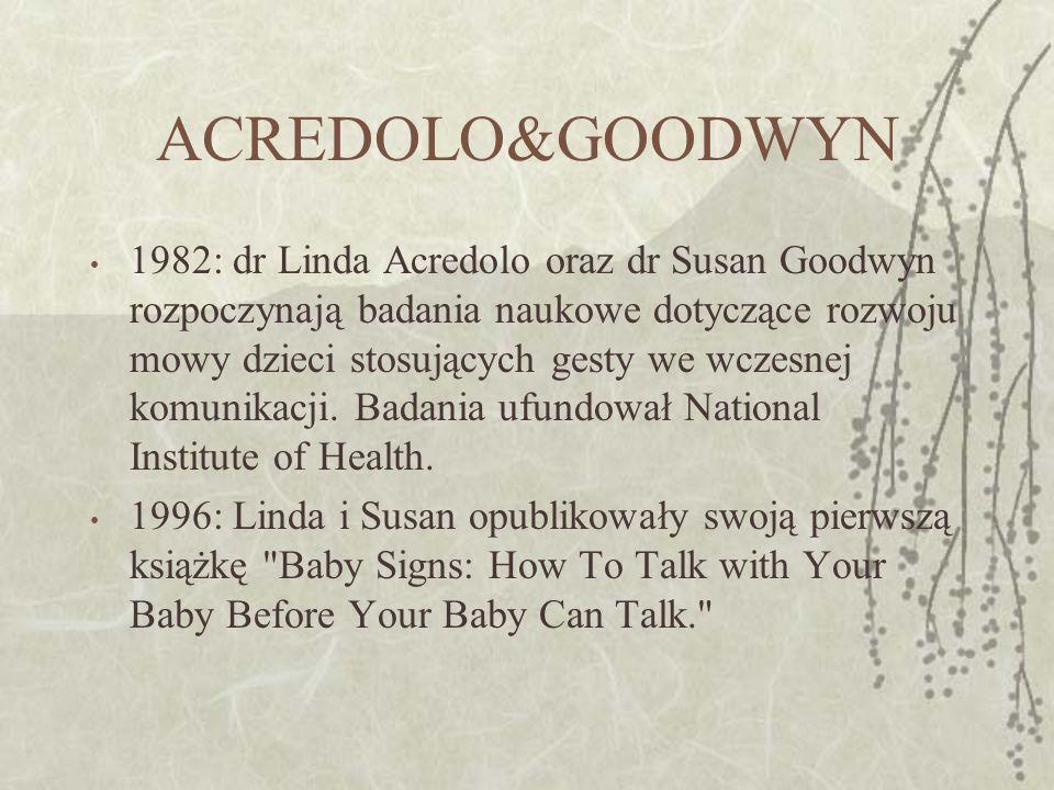 ACREDOLO&GOODWYN 1982: dr Linda Acredolo oraz dr Susan Goodwyn rozpoczynają badania naukowe dotyczące rozwoju mowy dzieci stosujących gesty we wczesnej komunikacji.