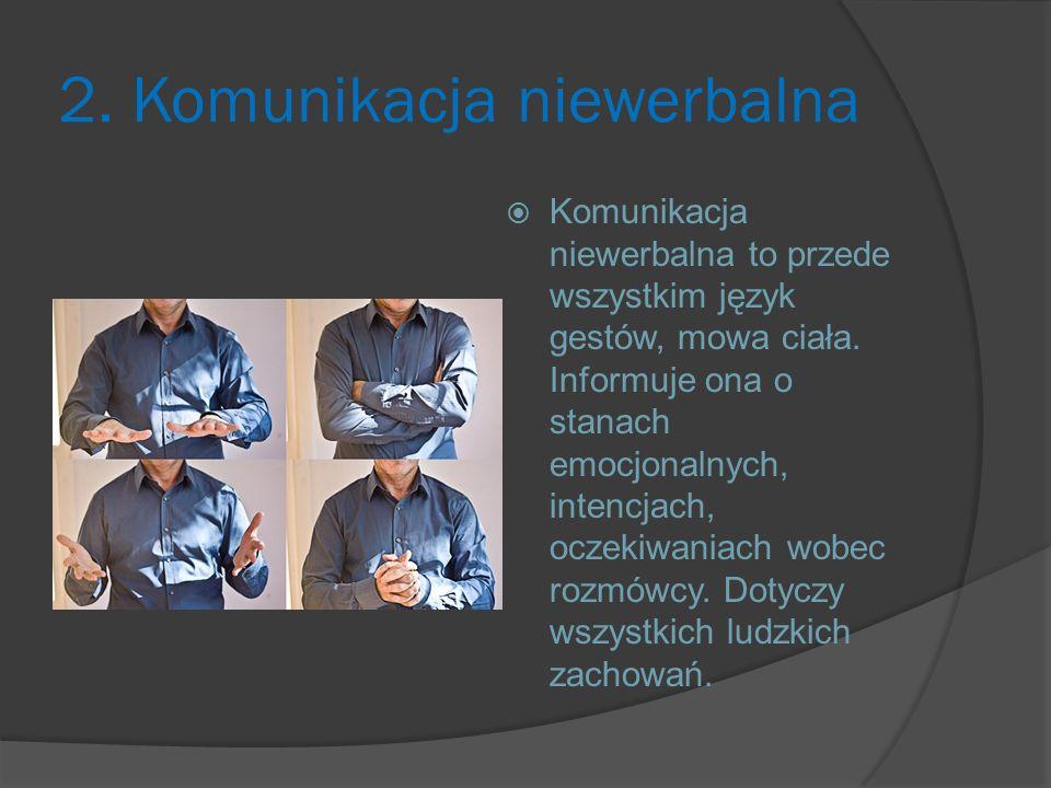 2. Komunikacja niewerbalna  Komunikacja niewerbalna to przede wszystkim język gestów, mowa ciała. Informuje ona o stanach emocjonalnych, intencjach,