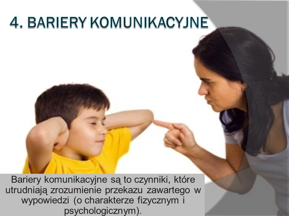 Bariery komunikacyjne są to czynniki, które utrudniają zrozumienie przekazu zawartego w wypowiedzi (o charakterze fizycznym i psychologicznym).