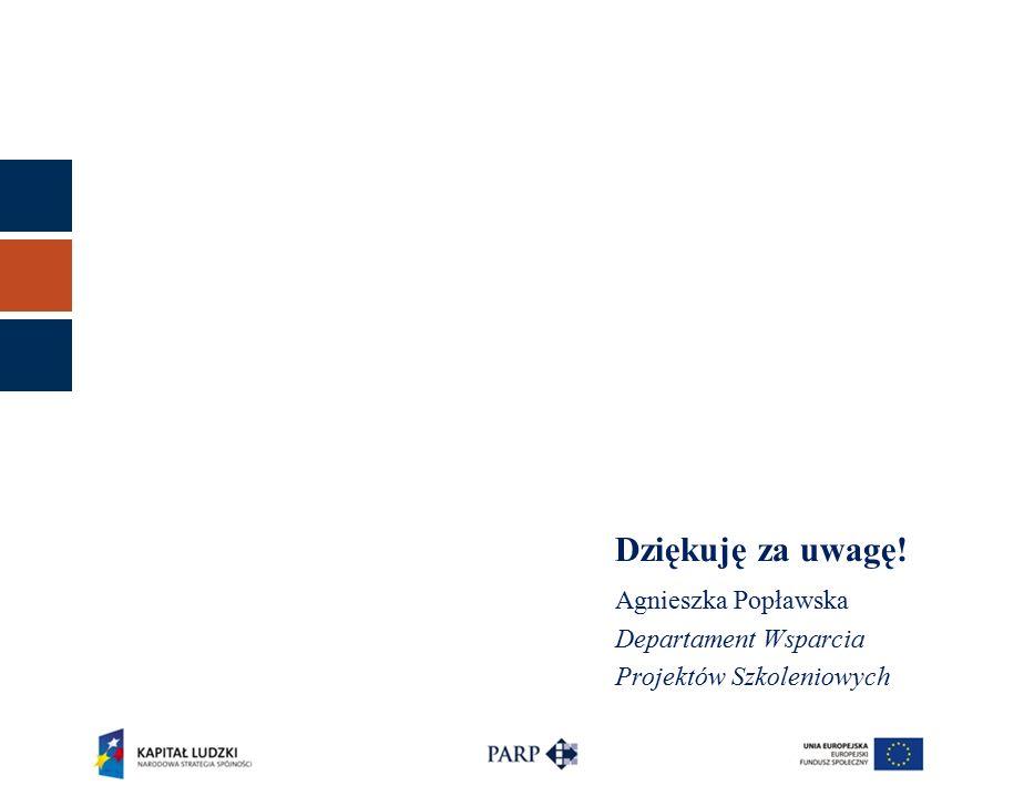Dziękuję za uwagę! Agnieszka Popławska Departament Wsparcia Projektów Szkoleniowych