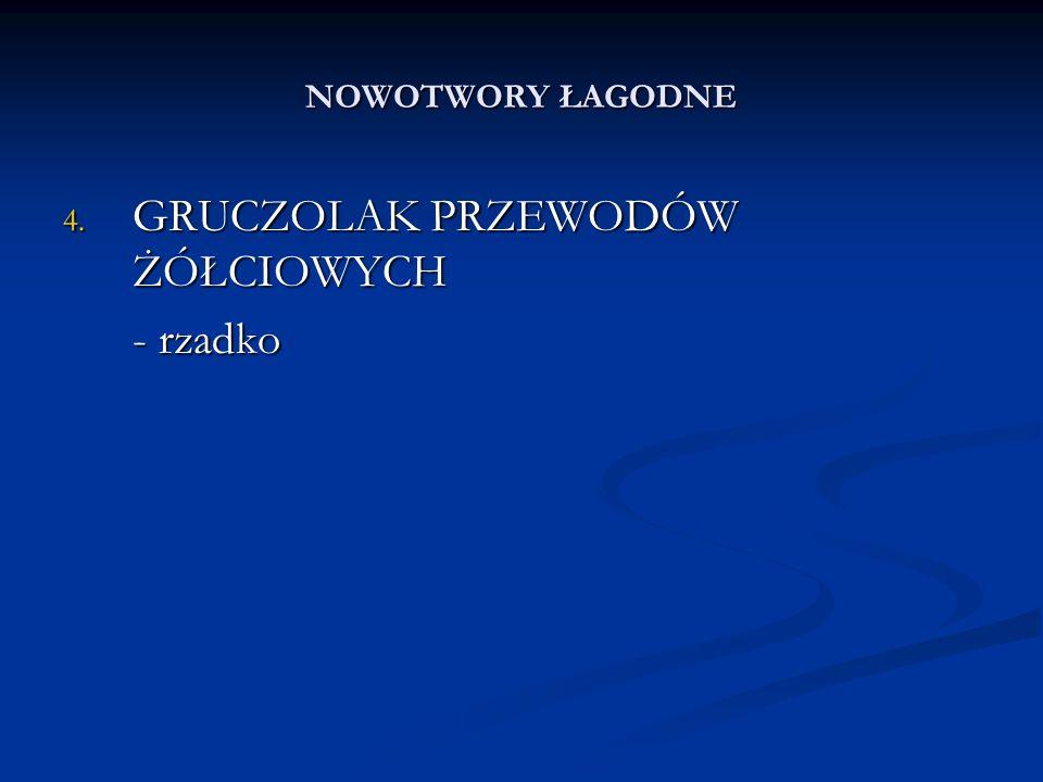 NOWOTWORY ZŁOŚLIWE 2.CHOLANGIOCARCINOMA - rzadko 3.