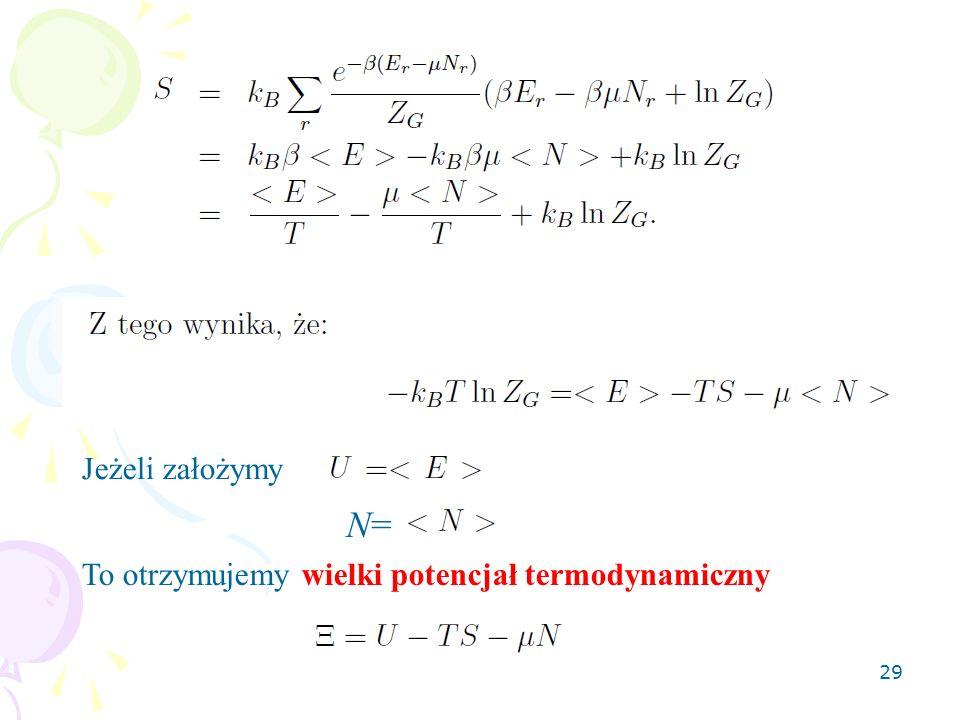 29 Jeżeli założymy N=N= To otrzymujemy wielki potencjał termodynamiczny