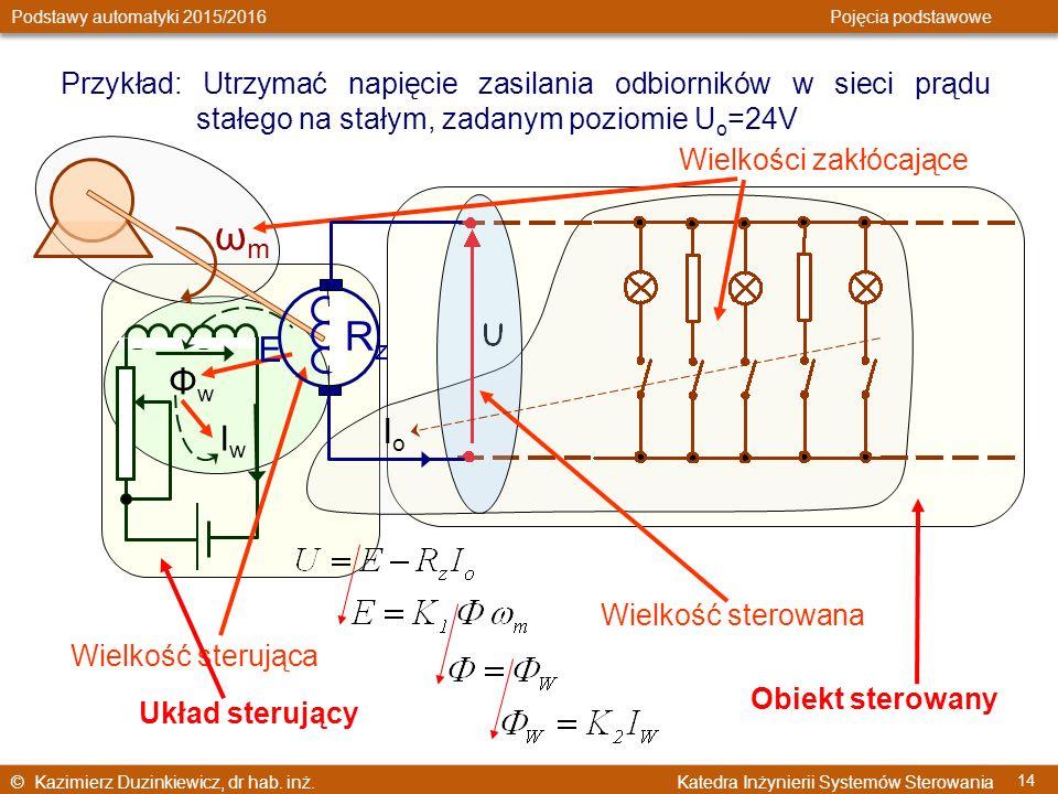 © Kazimierz Duzinkiewicz, dr hab. inż. Katedra Inżynierii Systemów Sterowania Podstawy automatyki 2015/2016 Pojęcia podstawowe 14 Przykład: Utrzymać n