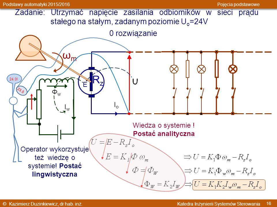 © Kazimierz Duzinkiewicz, dr hab. inż. Katedra Inżynierii Systemów Sterowania Podstawy automatyki 2015/2016 Pojęcia podstawowe 16 Zadanie: Utrzymać na