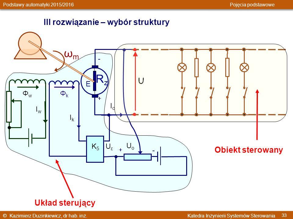 © Kazimierz Duzinkiewicz, dr hab. inż. Katedra Inżynierii Systemów Sterowania Podstawy automatyki 2015/2016 Pojęcia podstawowe 33 IwIw ΦwΦw UoUo ΦkΦk