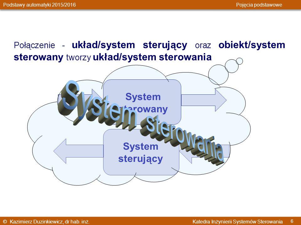 © Kazimierz Duzinkiewicz, dr hab. inż. Katedra Inżynierii Systemów Sterowania Podstawy automatyki 2015/2016 Pojęcia podstawowe 6 Połączenie - układ/sy