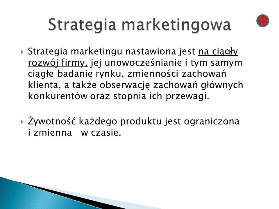  Strategia marketingu nastawiona jest na ciągły rozwój firmy, jej unowocześnianie i tym samym ciągłe badanie rynku, zmienności zachowań klienta, a także obserwację zachowań głównych konkurentów oraz stopnia ich przewagi.