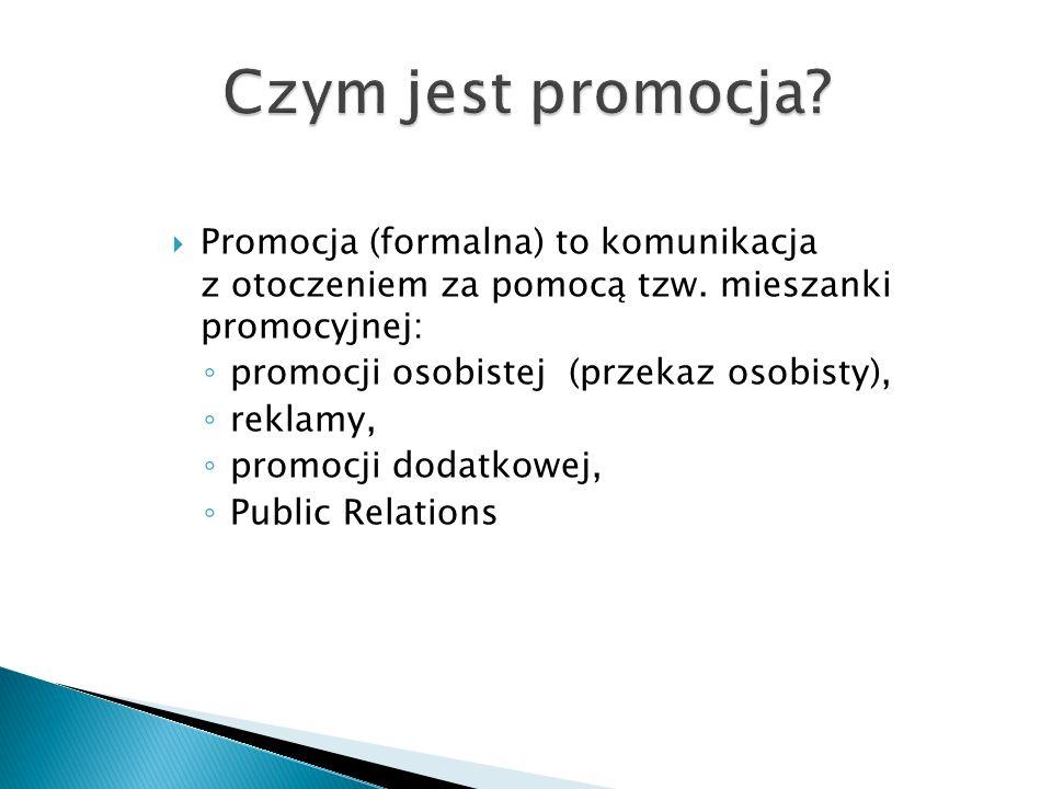  Promocja (formalna) to komunikacja z otoczeniem za pomocą tzw.