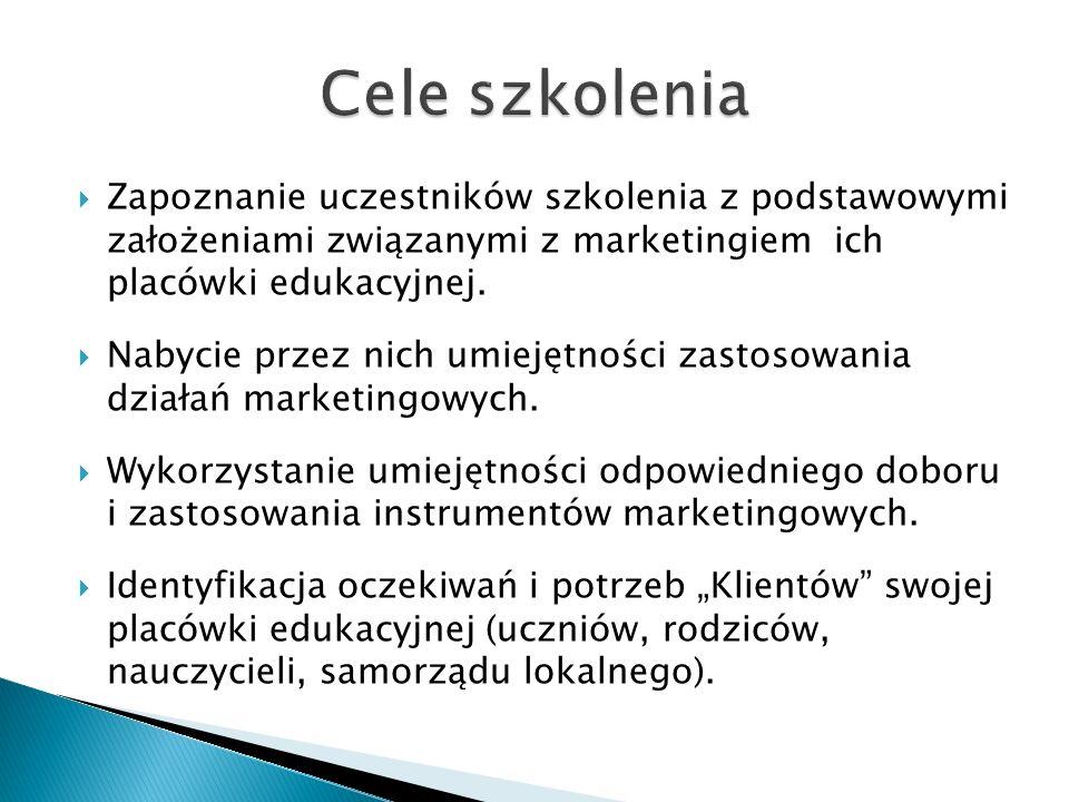  Marketing w placówce oświatowej (uwzględnienie specyfiki środowiska i samej placówki – wieś, miasto, SP, G, PG).