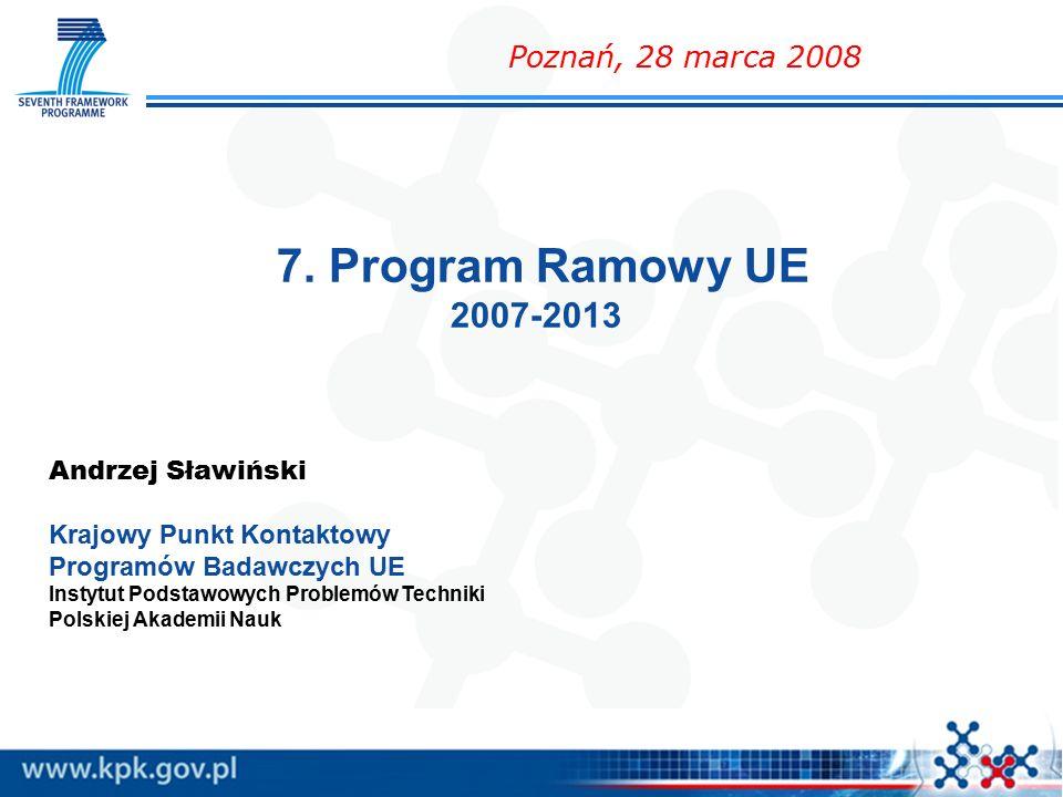 7. Program Ramowy UE 2007-2013 Andrzej Sławiński Krajowy Punkt Kontaktowy Programów Badawczych UE Instytut Podstawowych Problemów Techniki Polskiej Ak